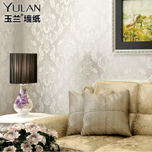 玉兰墙纸/丝绸质感/大马士革欧式时尚客厅背景墙卧室壁纸1720